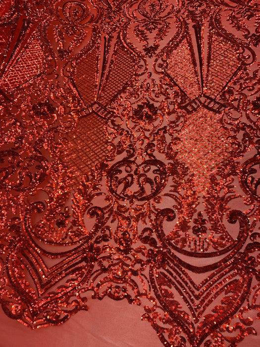 BY THE YARD/ Geometric Design Mesh Lace Fabric Sequins 4 Way Stretch On A Red Mesh/Lace Embroider (Red) Prom/Gowns Dress/Veil/ Tablecloths