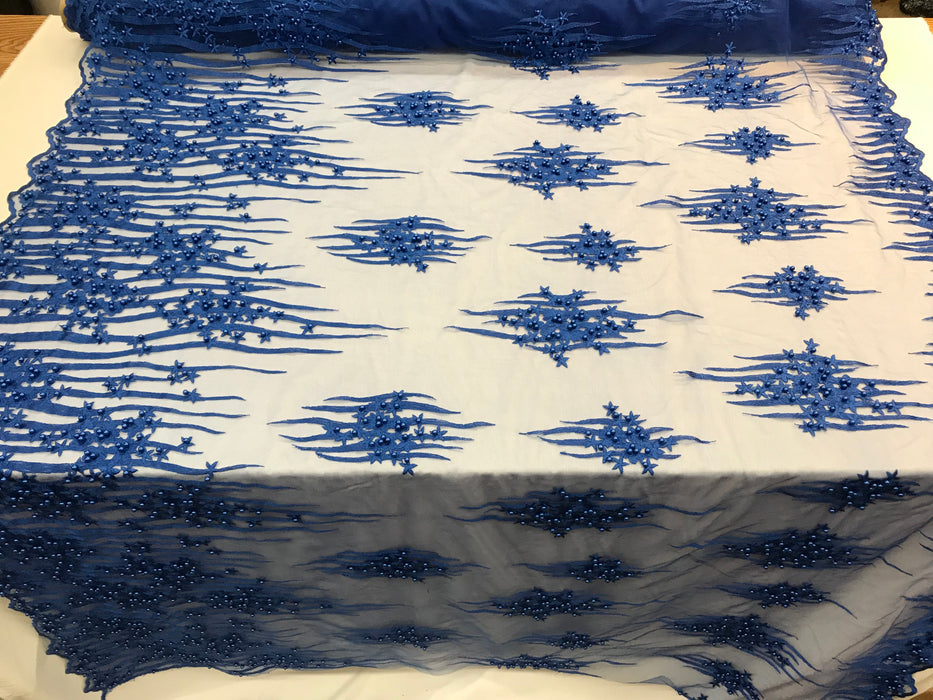 Royal Blue Design Beaded Fabric,Lace Fabric By The Yard-Embroider Beaded For Bridal-Floral Mesh Dress Lace Prom-Nightgown skirts runners