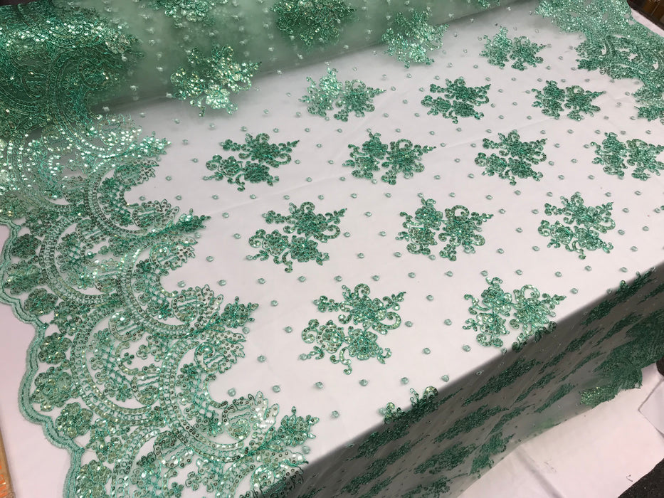 Mint Design shop prom Bridal Design transparent Fabric Mesh lace Embroidered wedding decoration night gowns tablecloths fashion dresses