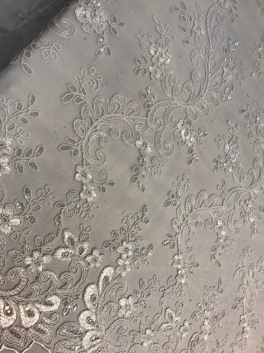 Ivory Design shop prom Bridal Design transparent Fabric Mesh lace Embroidered wedding decoration night gowns tablecloths fashion dresses