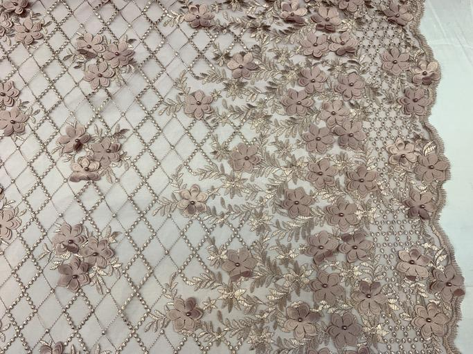 Dusty Rose - 3D Floral Pearl Beaded Embroidery Lace Fabric Mesh Fabric - IceFabrics