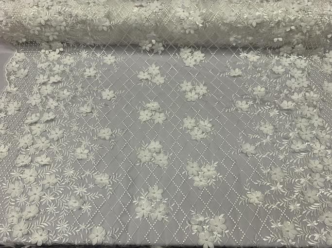 Ivory - 3D Floral Pearl Beaded Embroidery Lace Fabric Mesh Fabric - IceFabrics