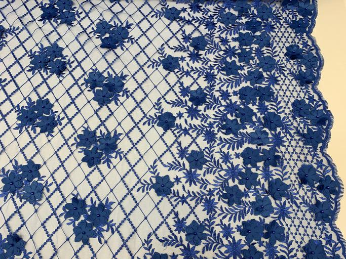 Royal Blue - 3D Floral Pearl Beaded Embroidery Lace Fabric Mesh Fabric - IceFabrics