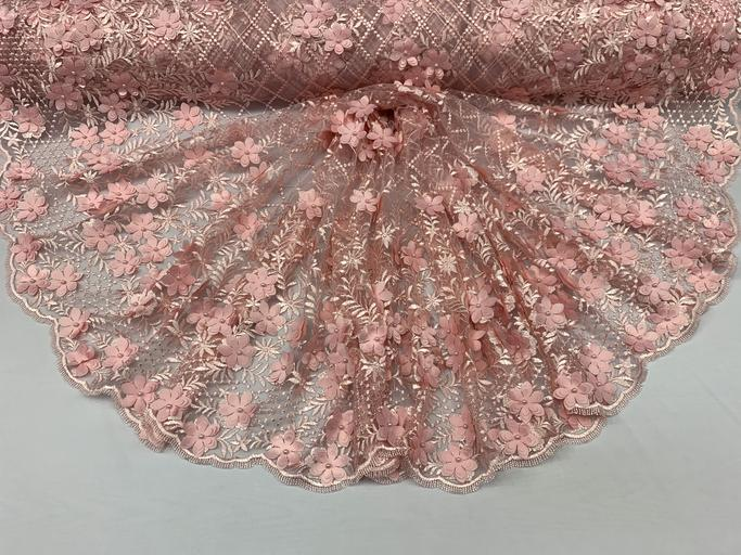 Pink - 3D Floral Pearl Beaded Embroidery Lace Fabric Mesh Fabric - IceFabrics