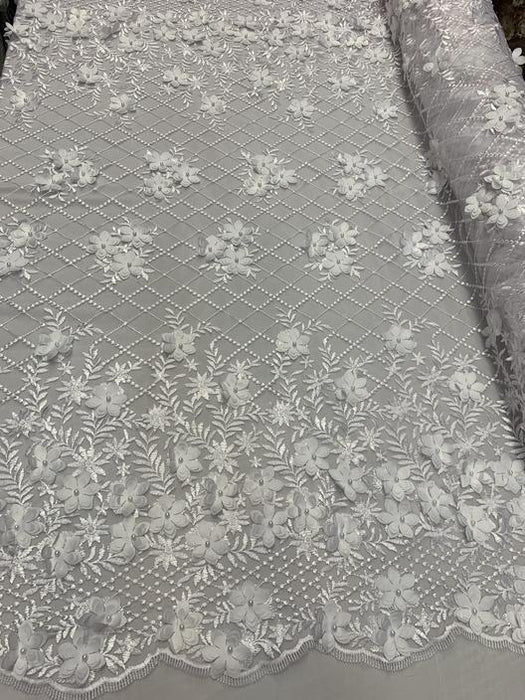 White - 3D Floral Pearl Beaded Embroidery Lace Fabric Mesh Fabric - IceFabrics