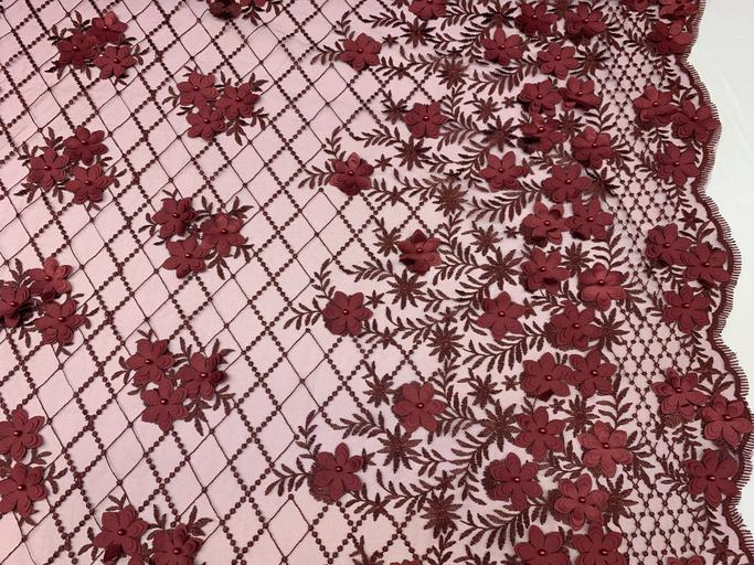 Burgundy - 3D Floral Pearl Beaded Embroidery Lace Fabric Mesh Fabric - IceFabrics