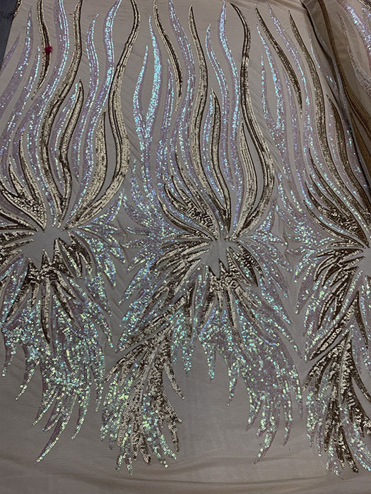 Iridescent/Champagne - FEATHER French Sequins//Spandex Mesh 4 Way Stretch Sequins Spandex Mesh Lace Fabric By Yard//Sequins Stretch Prom Lace - IceFabrics