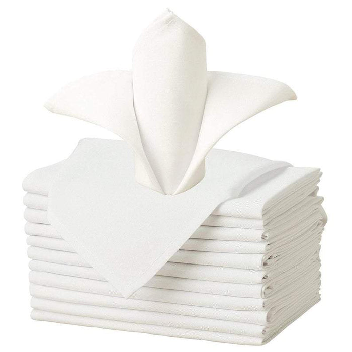 "Ivory - 20""x20"" Solid Polyester Washable Cloth Napkins For Wedding Party Restaurant Dinner - Set of 12 Pieces - IceFabrics"
