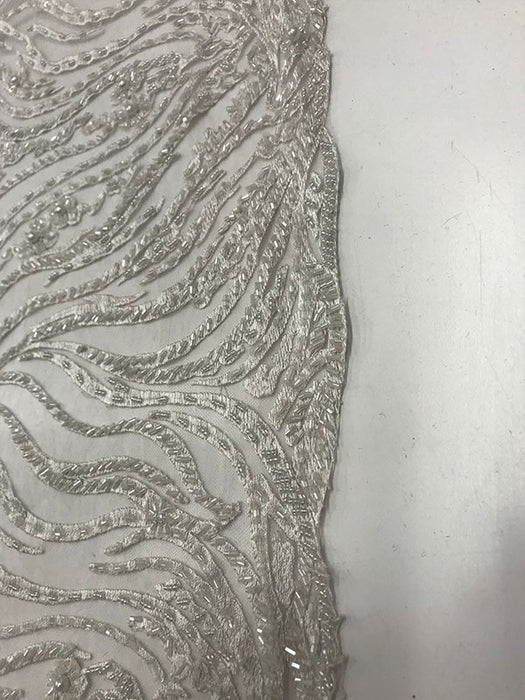 White - Lace By The Yard Embroidered Lace With Beads And Sequins French Bridal Veil Wedding Decoration Home women fashion prom dress - IceFabrics