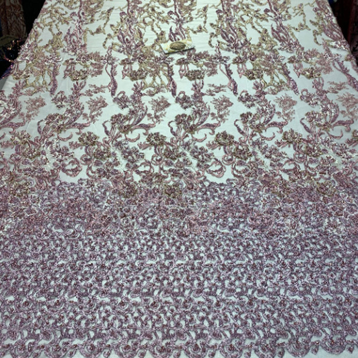 Lilac/White/Green - ITALIAN Design/ Floral Beaded Lace/Flower Mesh Lace Embroidery Fabric (By The Yard) Hand Beaded Lace  Wedding Prom Dress - IceFabrics