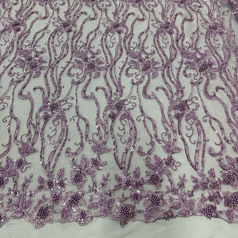 Lavender - Elegant Embroidery Bridal Floral Flowers Beaded Lace Fabric (20 Colors) - IceFabrics