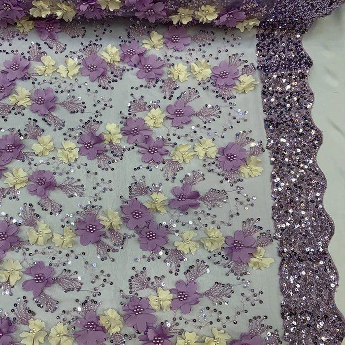 Lavender - Floral 3D Flowers Beaded Lace With Faux Pearls Sequins ON The Edge Embroidered Hand Beaded Mesh Lace Fabric By The Yard - IceFabrics