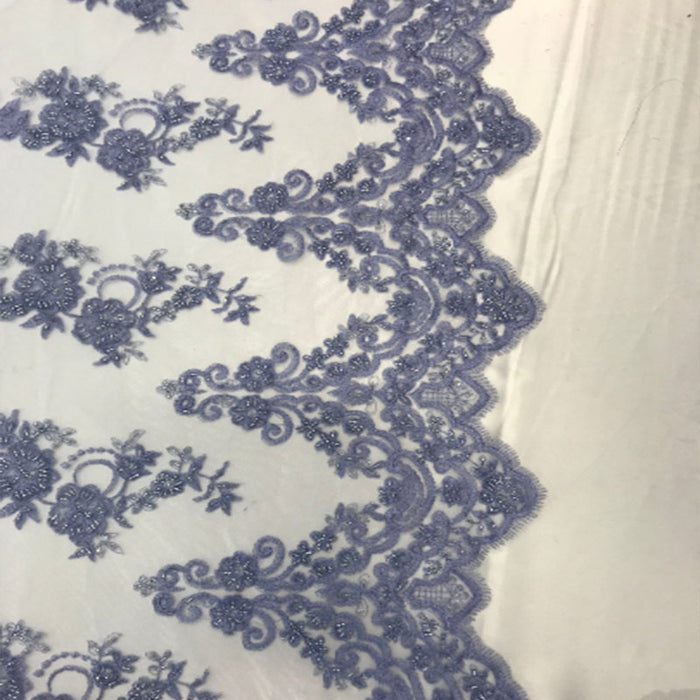 Lavender - Floral Embroidered Bridal Wedding Beaded Mesh Lace Fabric - IceFabrics