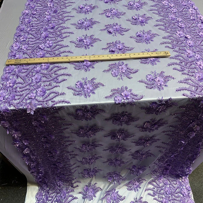 Lavender - New 3D Beaded Flowers Hand Embroidered Floral Mesh Lace With Sequins By The Yard For Prom Dresses/Tablecloths/Runners/Night Gowns - IceFabrics