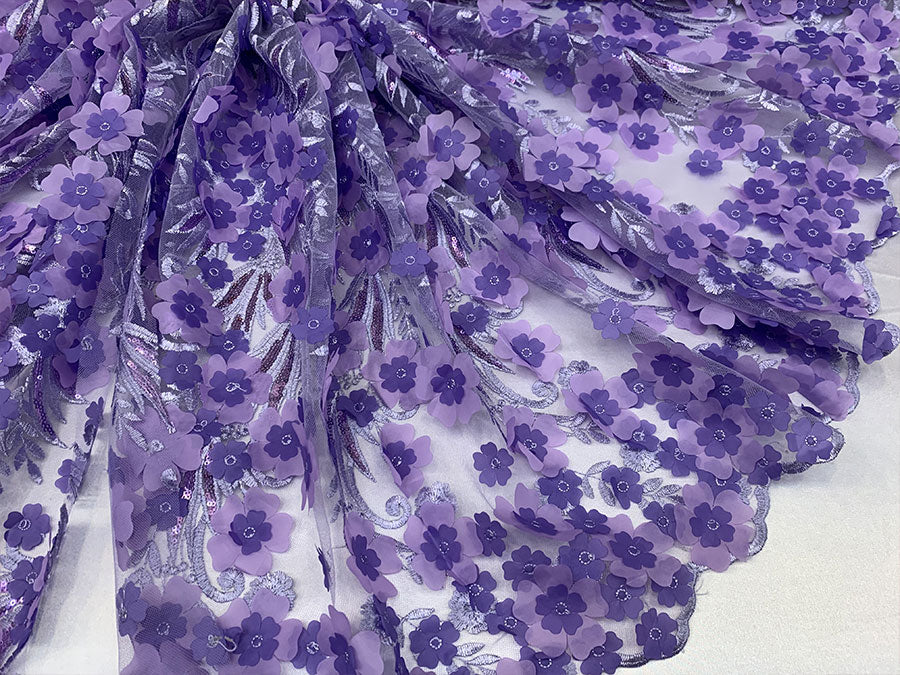 Lavender Veil Bridal Gowns//Mesh 3D Flowers Fabric Lace Fabric By The Yard_Sequins Flowers Embroidery Mesh Lace Floral Lace//FASHION SHOW - IceFabrics