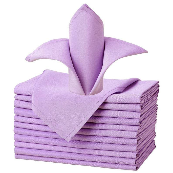 "Lavender - 20""x20"" Solid Polyester Washable Cloth Napkins For Wedding Party Restaurant Dinner - Set of 12 Pieces - IceFabrics"