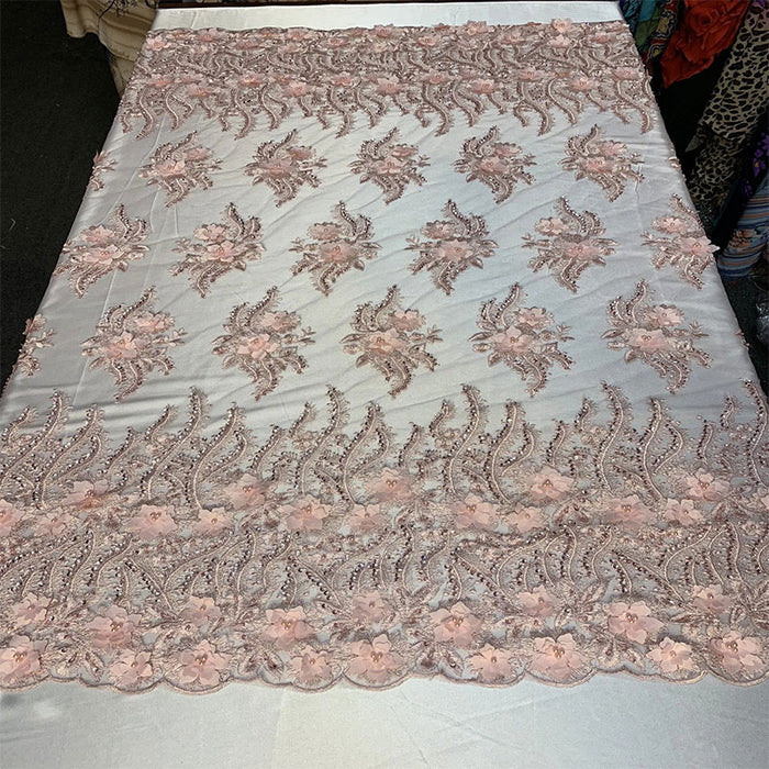 Light Pink - New 3D Beaded Flowers Hand Embroidered Floral Mesh Lace With Sequins By The Yard  For Prom Dresses/Tablecloths/Runners/Night Gowns - IceFabrics