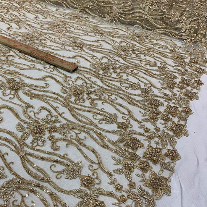Light Gold - Elegant Embroidery Bridal Floral Flowers Beaded Lace Fabric (20 Colors) - IceFabrics