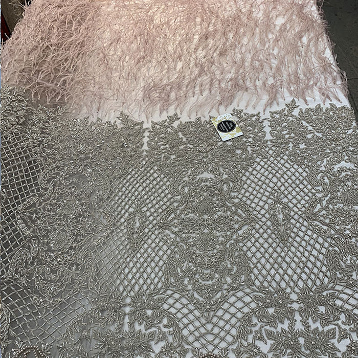 Light Gold - High-quality Handmade Feathers Mesh Lace Fabric - IceFabrics