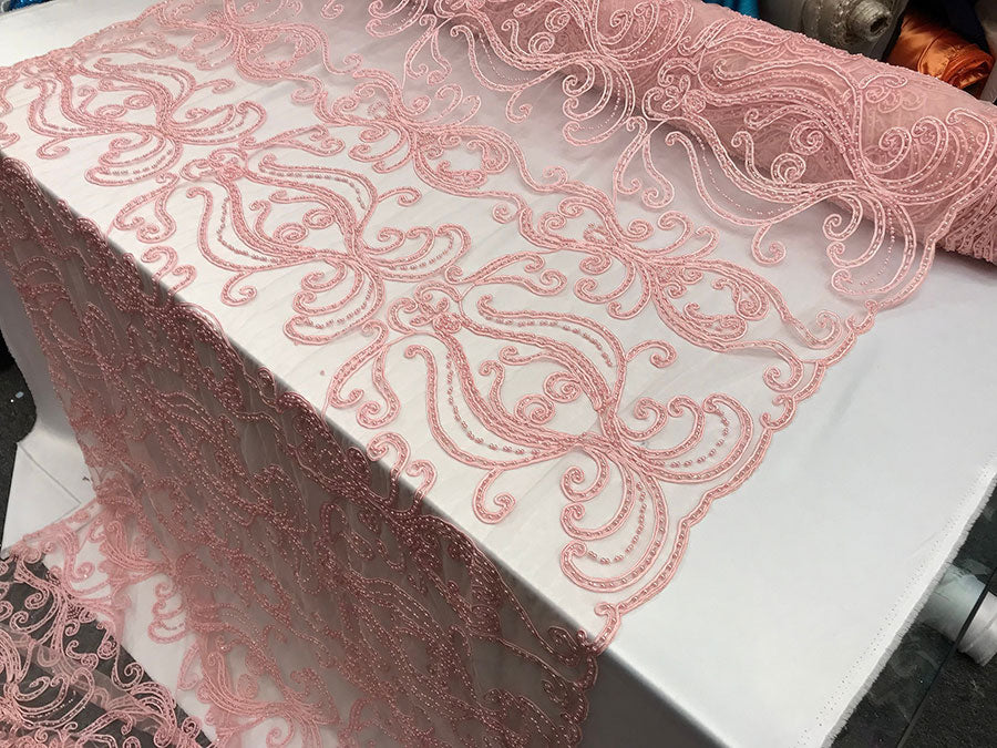Light Pink Design Beaded Mesh Lace Fabric Bridal Wedding Sold By Yard clothing, jackets, dresses,skirts, applications, table covers runners - IceFabrics