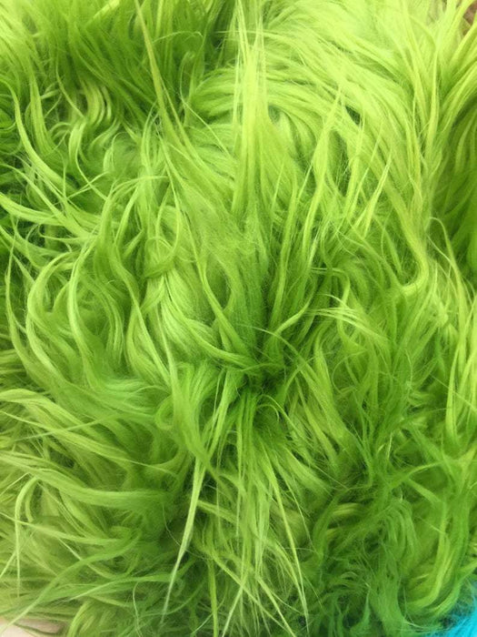 Lime Green - Fur Coats, Fur Clothing, Blankets, Bed Spreads, Throw Blanket Fake Fur Solid Mongolian Long Pile Fabric / Sold By The Yard - IceFabrics