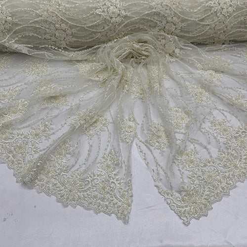 Ivory - NEW Paris Lace//Lace Mesh Beaded Flowers Hand Beaded Floral FABRIC By The Yard//Fashion Embroidery Lace//Heavy Beaded Fabric Prom Lace - IceFabrics