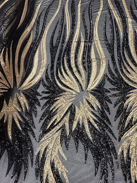 Matte/Gold - FEATHER French Sequins//Spandex Mesh 4 Way Stretch Sequins Spandex Mesh Lace Fabric By Yard//Sequins Stretch Prom Lace - IceFabrics