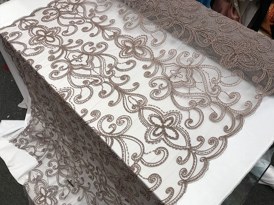 Mauve Design Beaded Mesh Lace Fabric Bridal Wedding Sold By Yard clothing, jackets, dresses,skirts, applications, table covers runners