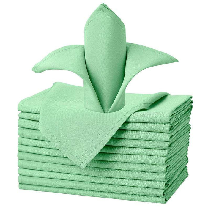 "Mint Green - 20""x20"" Solid Polyester Washable Cloth Napkins For Wedding Party Restaurant Dinner - Set of 12 Pieces - IceFabrics"