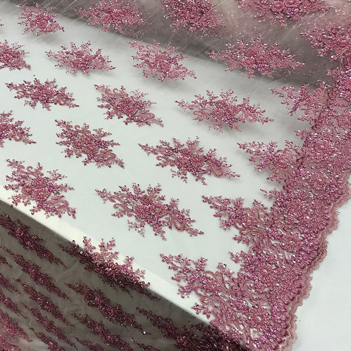 Pink -  NEW Beaded French Embroidered Handmade Mesh Lace Floral Fabric By the Yard.Bridal wedding,prom dresses,decorations, Veil, Gowns,Fashion - IceFabrics