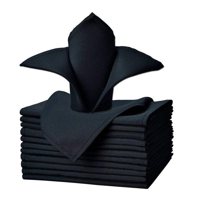"Navy - 20""x20"" Solid Polyester Washable Cloth Napkins For Wedding Party Restaurant Dinner - Set of 12 Pieces - IceFabrics"