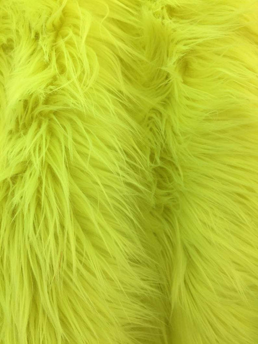 Neon Green - Fur Coats, Fur Clothing, Blankets, Bed Spreads, Throw Blanket Fake Fur Solid Mongolian Long Pile Fabric / Sold By The Yard - IceFabrics