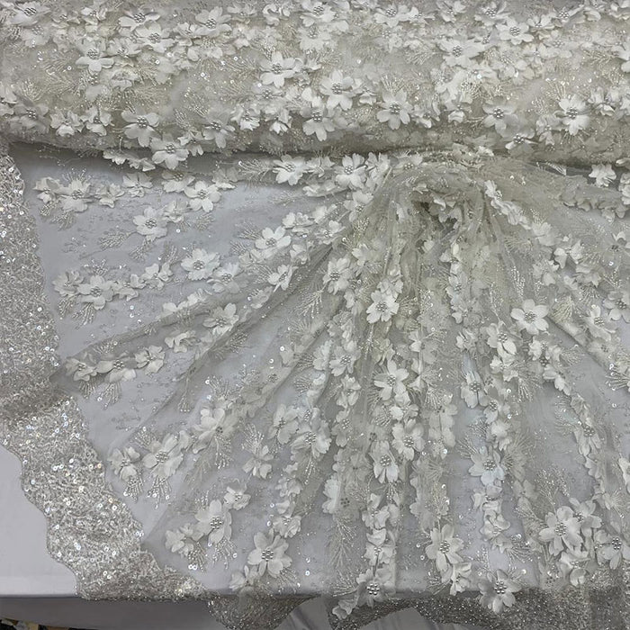 Off White - Floral 3D Flowers Beaded Lace With Faux Pearls Sequins ON The Edge Embroidered Hand Beaded Mesh Lace Fabric By The Yard - IceFabrics