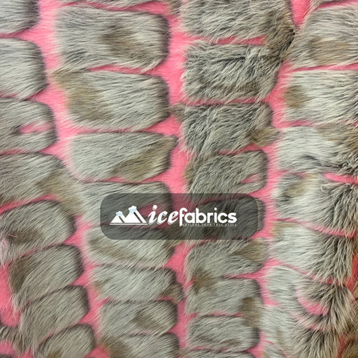 Pink - Rectangular Long Pile Fake Faux Fur Fabric By The Yard  (4 Colors) - IceFabrics