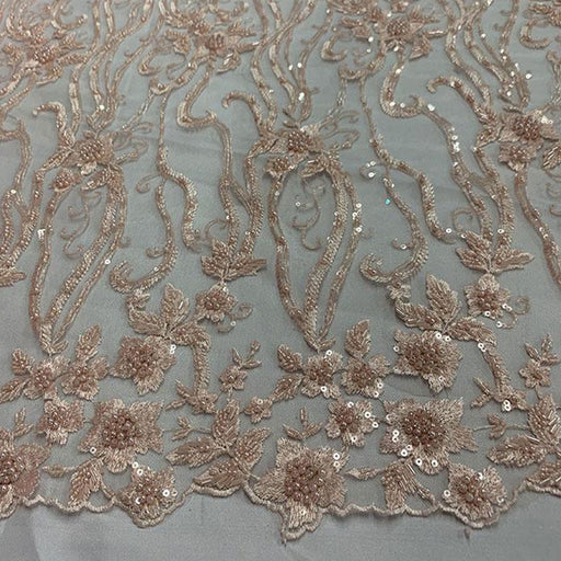 Peach - Elegant Embroidery Bridal Floral Flowers Beaded Lace Fabric (20 Colors) - IceFabrics