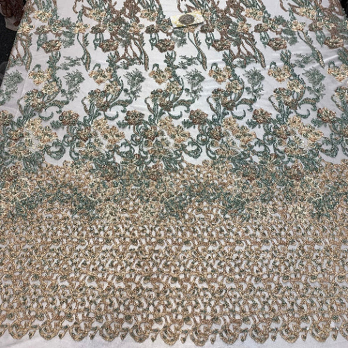 Peach/Sage/Brown - ITALIAN Design/ Floral Beaded Lace/Flower Mesh Lace Embroidery Fabric (By The Yard) Hand Beaded Lace  Wedding Prom Dress - IceFabrics