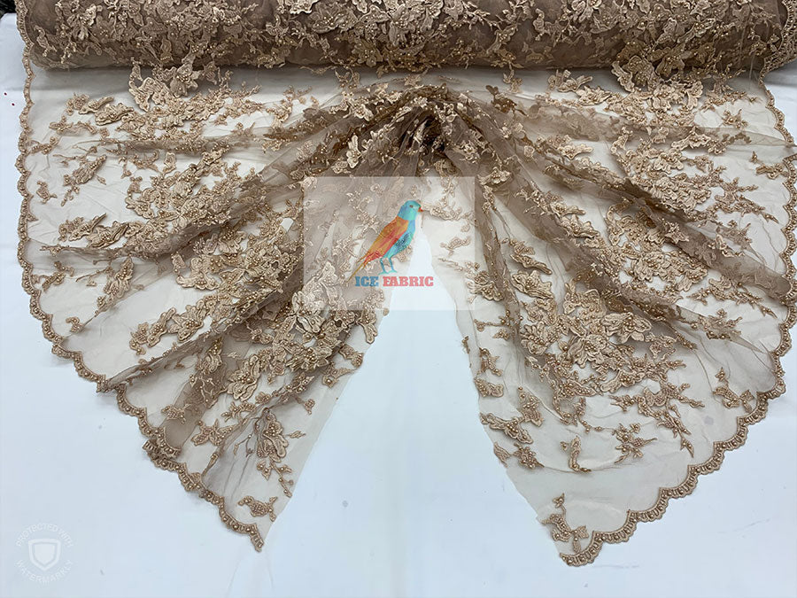Peach - KING Design Fashion Bridal Lace//Embroidered Beaded 3D Flowers Lace//Floral Beaded Mesh Lace Fabric By The Yard//Prom Gowns Costumes - IceFabrics