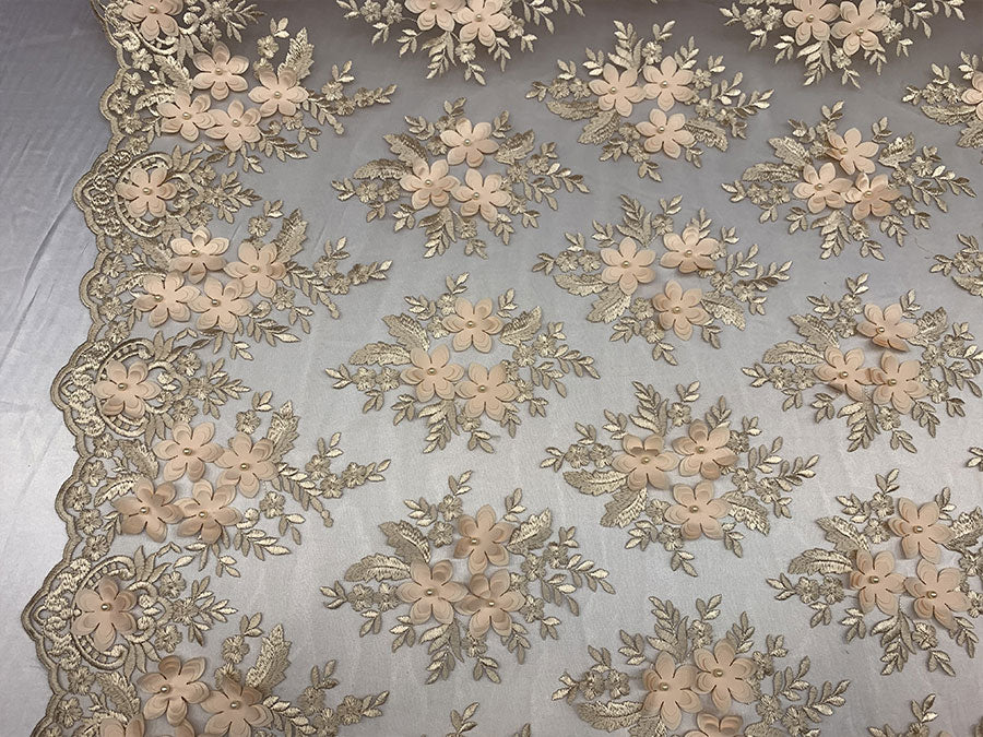 Peach 3D Flowers Beaded Mesh Lace Bridal Fabric By The Yard/ Mesh Beaded Embroider Lace Floral Fabric/ Wedding Fabric, Prom Dress, Gowns - IceFabrics