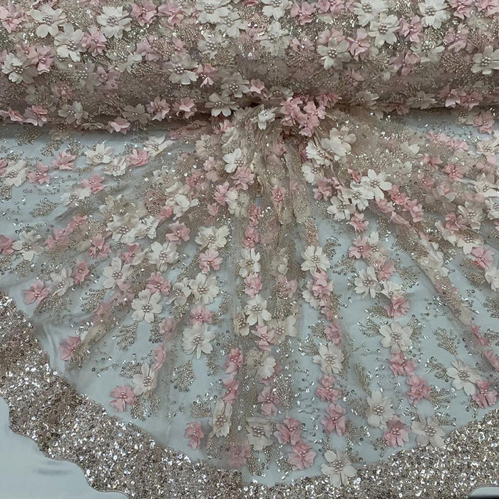 Light Pink - Floral 3D Flowers Beaded Lace With Faux Pearls Sequins ON The Edge Embroidered Hand Beaded Mesh Lace Fabric By The Yard - IceFabrics