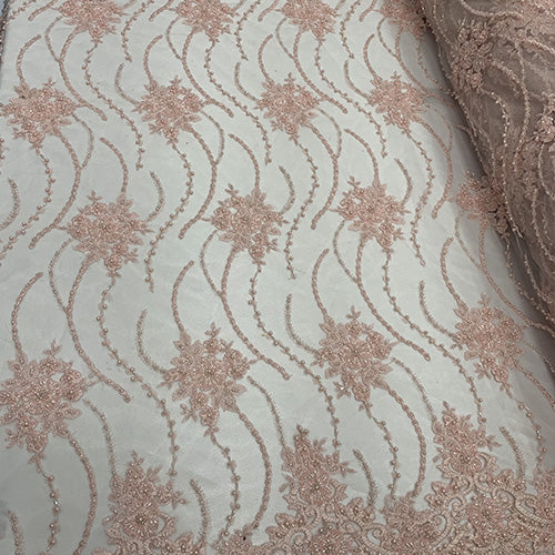 Pink - NEW Paris Lace//Lace Mesh Beaded Flowers Hand Beaded Floral FABRIC By The Yard//Fashion Embroidery Lace//Heavy Beaded Fabric Prom Lace - IceFabrics
