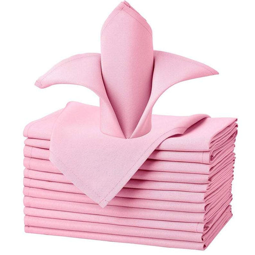 "Pink - 20""x20"" Solid Polyester Washable Cloth Napkins For Wedding Party Restaurant Dinner Set of 12 Pieces - IceFabrics"