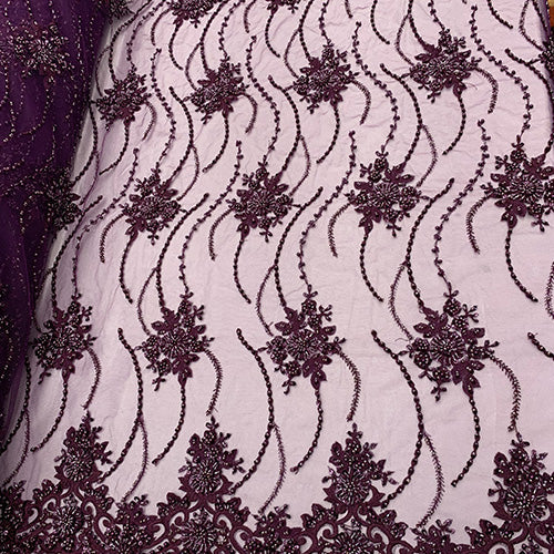 Purple Lace- NEW Paris Lace//Lace Mesh Beaded Flowers Hand Beaded Floral FABRIC By The Yard//Fashion Embroidery Lace//Heavy Beaded Fabric Prom Lace - IceFabrics