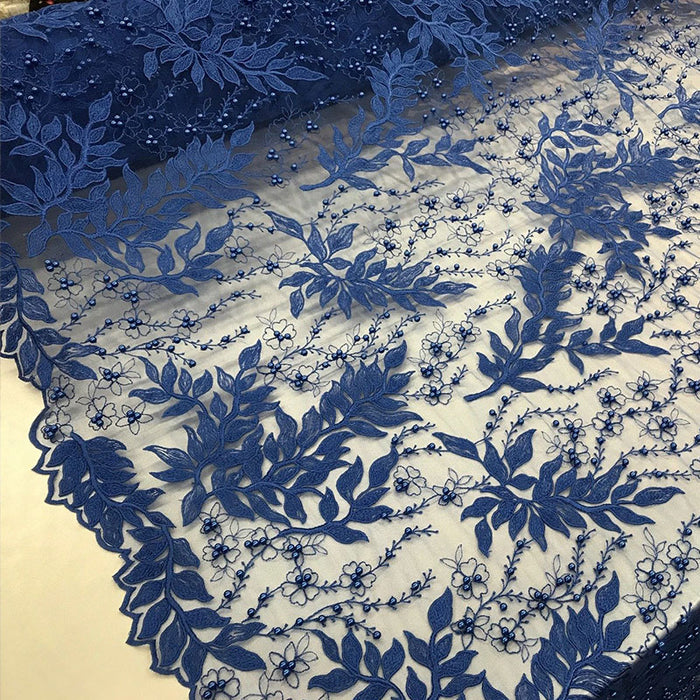 Royal Blue - Shop Design Beaded Fabric,Lace Fabric By The Yard-Embroider Beaded For Bridal-Floral Mesh Dress Lace Prom-Nightgown skirts runners - IceFabric