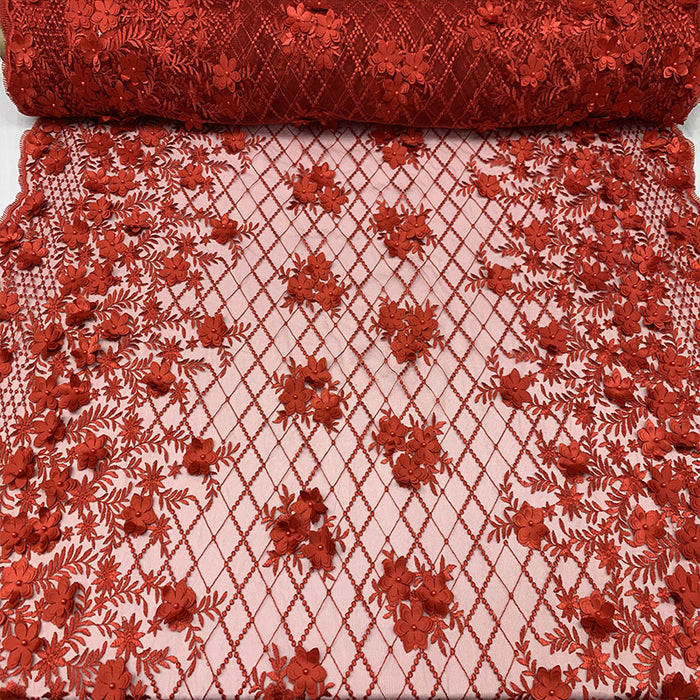 Red - 3D Floral Pearl Beaded Embroidery Lace Fabric Mesh Fabric - IceFabrics