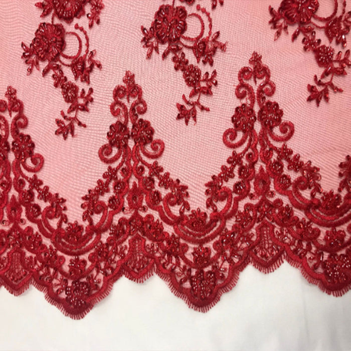 Red - Floral Embroidered Bridal Wedding Beaded Mesh Lace Fabric - IceFabrics