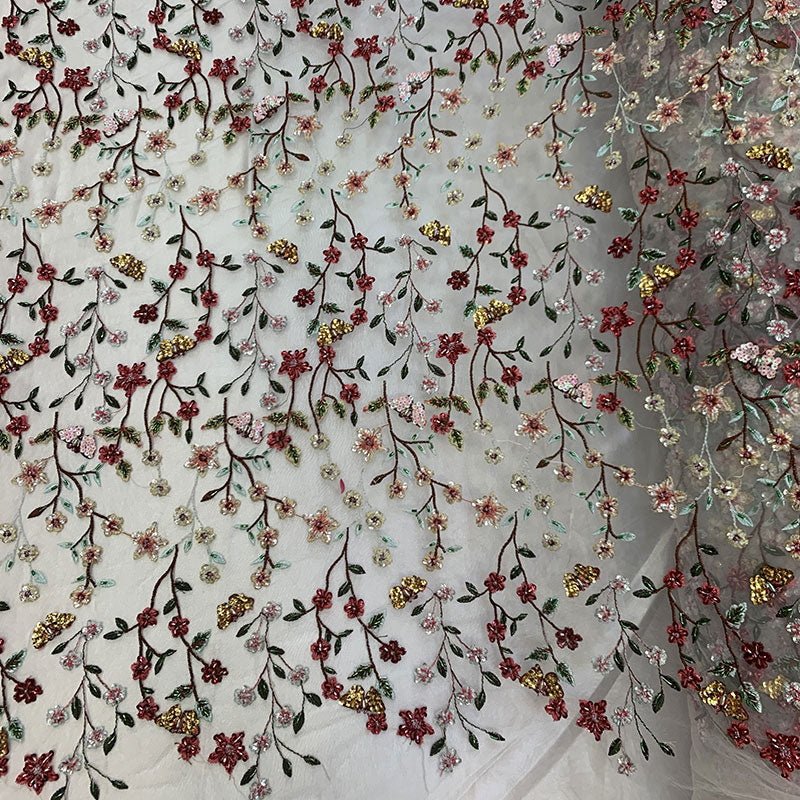 Red Flowers ON A Nude Mesh_ FLORAL Beaded Mesh Lace Fabric By The Yards, Handmade Fabric, Embroider Beads With Sequins, Gowns Lace, Costumes - IceFabrics