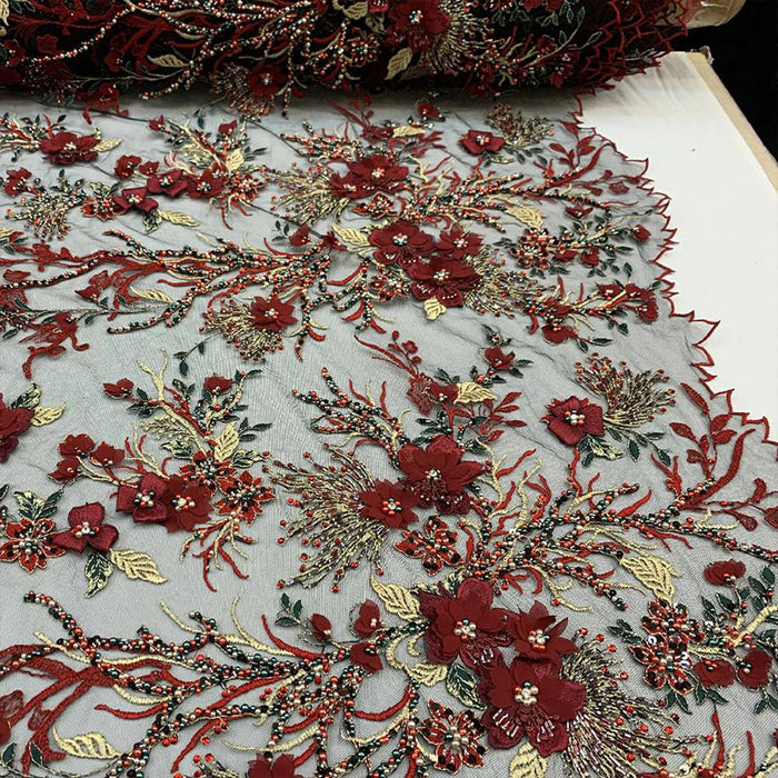 Red - Most Expensive Lace 2019_ 3D Flowers/Floral_ Embroidery Beaded Mesh Lace Fabric By the Yard With Beads_ Handmade Lace With Pearls - IceFabrics