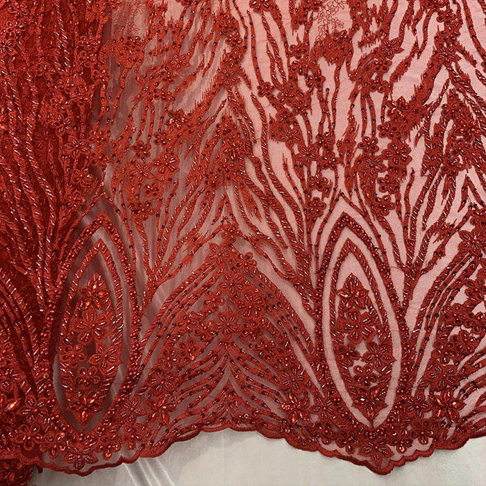 RED - Wedding Lace Hand Beading Flowers With Sequins/ Floral Lace Fabric - IceFabrics