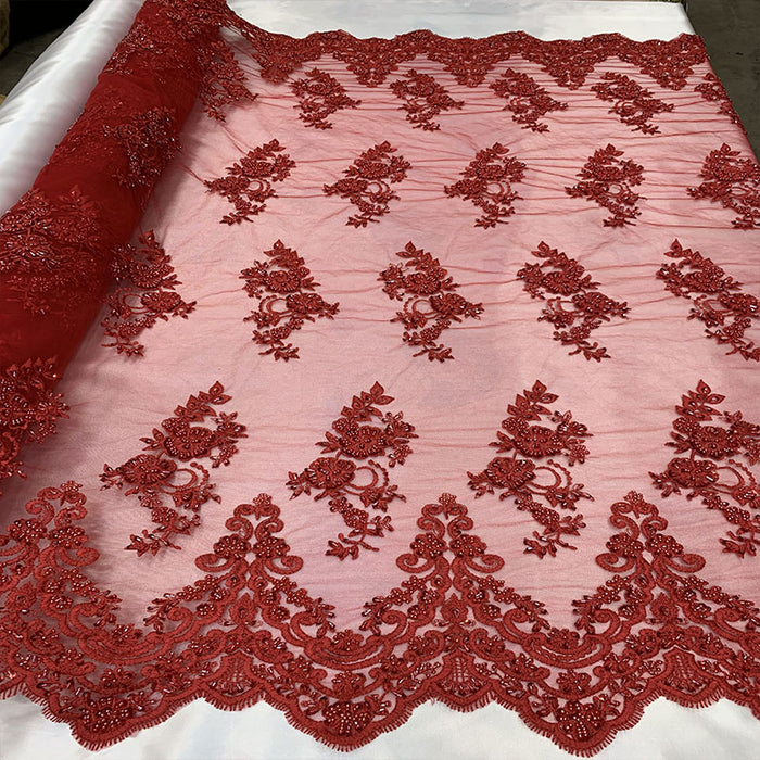 Red_ Embroidered French Flowers Mesh Lace Fabric Sold BY The Yard/ HANDMADE Lace Floral Design For Prom Dresses/ Bridal Lace/ Night Gowns - IceFabrics