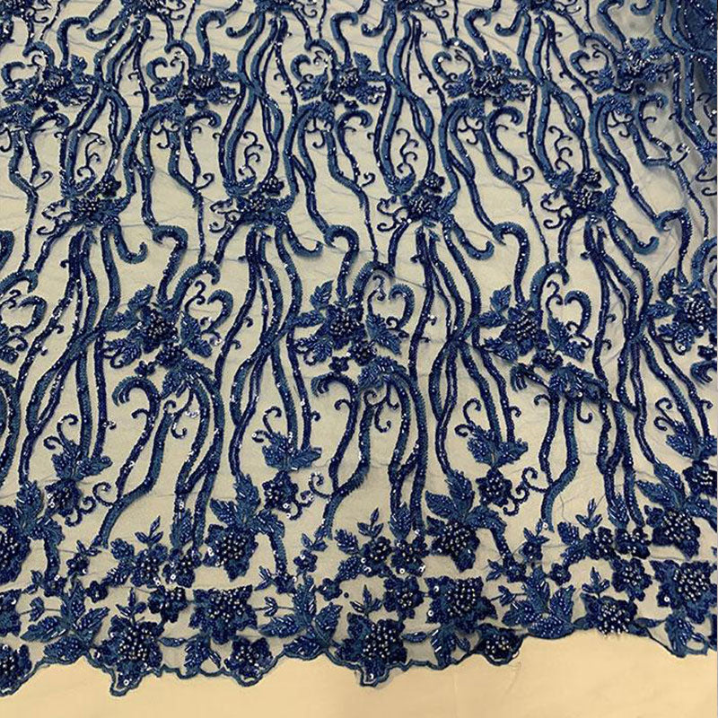 Royal Blue - Elegant Embroidery Bridal Floral Flowers Beaded Lace Fabric (20 Colors) - IceFabrics